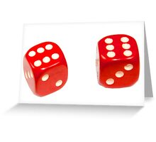 Two red lucky dice double six on white background Greeting Card