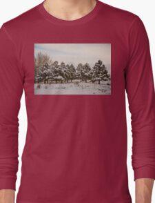 Snowy Winter Pine Trees Long Sleeve T-Shirt