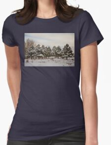 Snowy Winter Pine Trees Womens Fitted T-Shirt