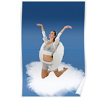 female white Angel on a cloud Poster
