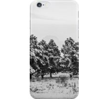 Snowy Winter Pine Trees In Black and White iPhone Case/Skin