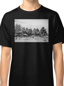Snowy Winter Pine Trees In Black and White Classic T-Shirt