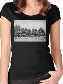 Snowy Winter Pine Trees In Black and White Women's Fitted Scoop T-Shirt