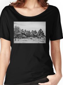 Snowy Winter Pine Trees In Black and White Women's Relaxed Fit T-Shirt