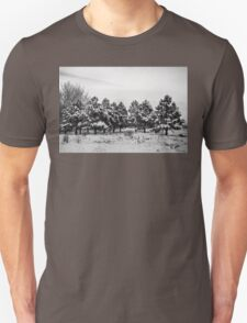Snowy Winter Pine Trees In Black and White T-Shirt
