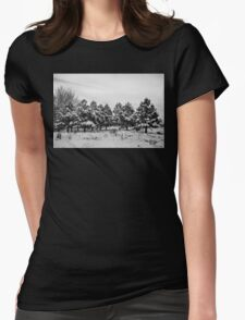 Snowy Winter Pine Trees In Black and White Womens Fitted T-Shirt