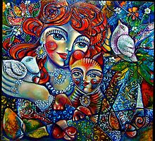"""""""Woman with Cat and Dove"""" by Jasmin Aldin"""
