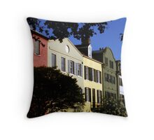 Rainbow Row No. 1, Charleston, SC Throw Pillow