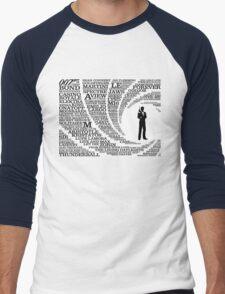 Iconic James Bond Typography Art Men's Baseball ¾ T-Shirt
