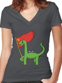 Working Class Dino Women's Fitted V-Neck T-Shirt