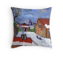 Dutch village snowscene Throw Pillow