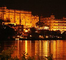 a palace at night by Sanchita  Mukherjee