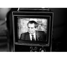 Richard Nixon resigning on TV Photographic Print