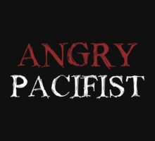 Angry Pacifist - Red And White Ink by Djidiouf