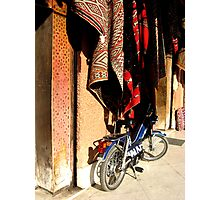 bike and rugs marrakech Photographic Print