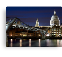 St Pauls Cathedral and Millenium bridge at night Canvas Print