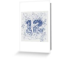 Abstract Twelve Team Spirit - Blue On Gray Greeting Card