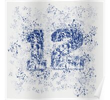 Abstract Twelve Team Spirit - Blue On Gray Poster