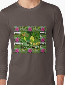 Hyde Hall Collage Featuring Wild Rose and Irises Long Sleeve T-Shirt