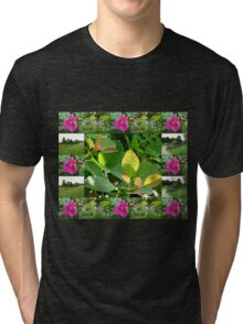 Hyde Hall Collage Featuring Wild Rose and Irises Tri-blend T-Shirt