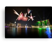 Fireworks over Marina Bay Canvas Print