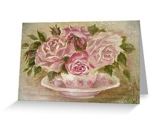 pink cup and saucer roses Greeting Card
