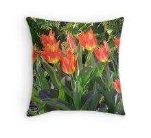 Orange Flaming Tulips Throw Pillow