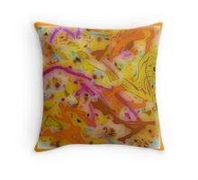 GLASSY ABSTRACT design, pink, gold, orange multicolored  Throw Pillow