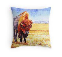Buffalo on Blackfeet Indian Reservation Throw Pillow