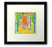YELLOW, ORANGE, GREEN abstract garden Framed Print