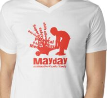 MayDay 2008 Fair & March - red print Mens V-Neck T-Shirt