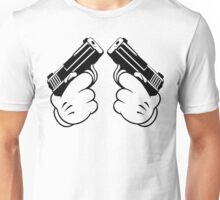 Cartoon Hand Guns Funny Geek Nerd Unisex T-Shirt