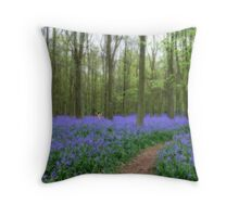 Mythical photograph of Bluebells with a fairy amongst the flowers Throw Pillow