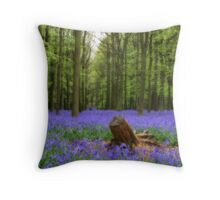 Mythical photograph of bluebells with a log in the foreground Throw Pillow