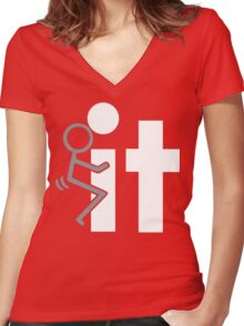 FUCK IT Funny Geek Nerd Women's Fitted V-Neck T-Shirt