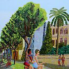 Tel aviv street naive paintings of my city landscape  by raphael perez