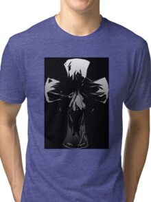 Silver And Gray On Black Abstract Face Skull Cross Design Tri-blend T-Shirt