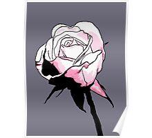 Pink Rosebud Cartoon Poster