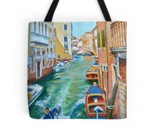 Venetian Commuter on a sunny canal Tote Bag