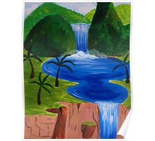 Tropic Waterfall and Pools Poster
