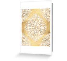 White Gouache Doodle on Gold Paint Greeting Card