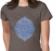 White Gouache Doodle on Pearly Blue Paint Womens Fitted T-Shirt
