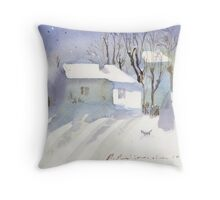 Village house covered in snow Throw Pillow