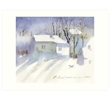 Village house covered in snow Art Print