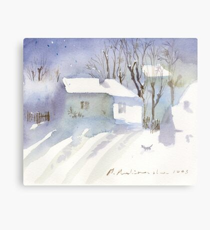 Village house covered in snow Metal Print