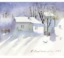 Village house covered in snow Photographic Print