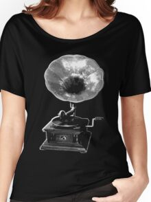 gramophone t-shirt on dark Women's Relaxed Fit T-Shirt