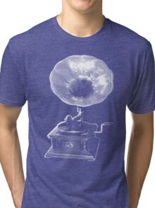 gramophone t-shirt on dark Tri-blend T-Shirt