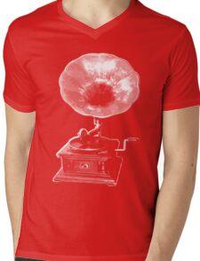 gramophone t-shirt on dark Mens V-Neck T-Shirt