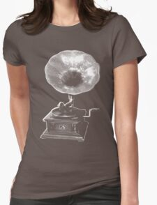 gramophone t-shirt on dark Womens Fitted T-Shirt
